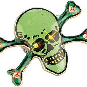 Pin de calavera verde con LEDs en los ojos