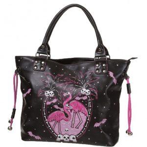 bolso gotico de flamencos y calaveras