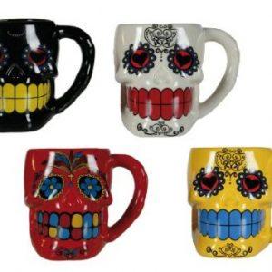 tazas de ceramica de calaveras mexicanas en colores vivos
