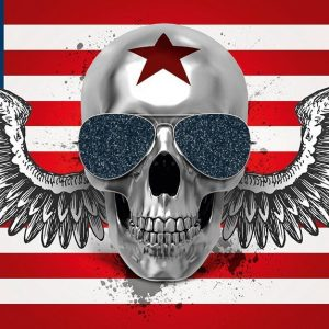 bandera americana con calavera plateada