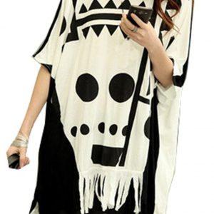 blusa ancha blanca y negra con calavera