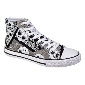 botas de calaveras blanco y negro