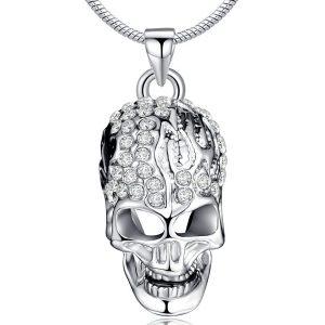 colgante de calavera cristal austriaco chapado en plata