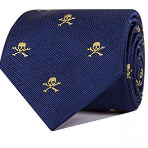corbata jacquard azul con calaveras