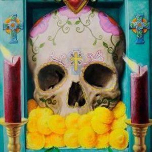 cuadro colorido de calavera mexicana