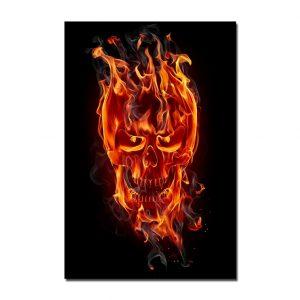 cuadro de calavera en llamas