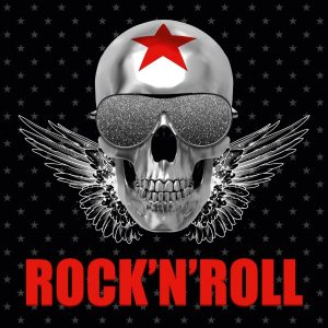cuadro de calavera plateada rock n roll
