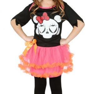 disfraz de calavera con tutu rosa para niña