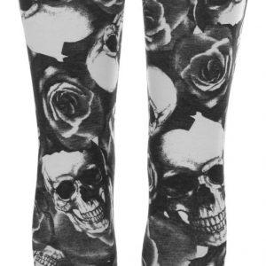 leggins con estampado de calaveras en blanco y negro
