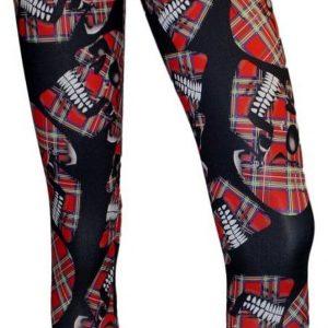 leggins de cuadros escoceses y calaveras