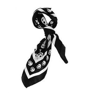 pañuelo de calaveras blanco y negro