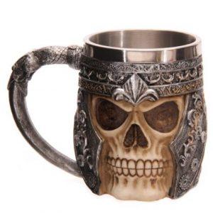 taza jarra de cerveza calavera medieval