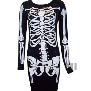 vestido de manga larga esqueleto