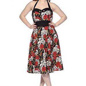 vestido pin up rosas rojas y calaveras
