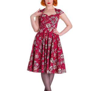 vestido rojo estampado de calaveras