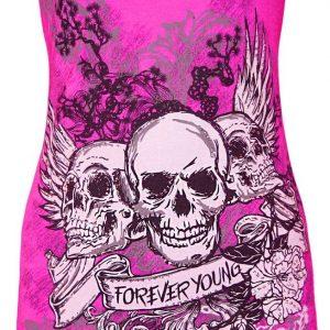 vestido rosa con calaveras forever young
