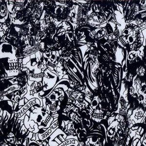 7 dibujos de calaveras en blanco y negro