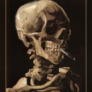 Poster calavera con cigarrillo