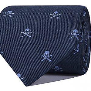 corbata jacquard azul marino con calaveras