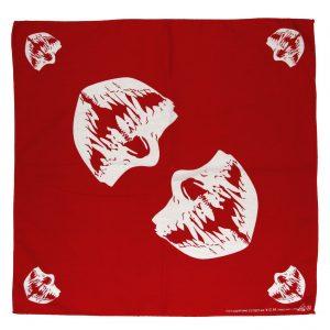 pañuelo rojo con boca de calavera
