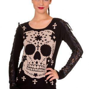 blusa negra gotica con estampado de calavera