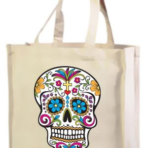 bolsa de algodón con calavera mexicana