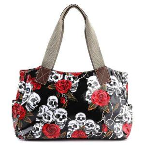 bolso de calaveras y rosas rojas
