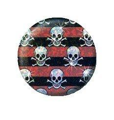 boton rayas rojas y negras calavera