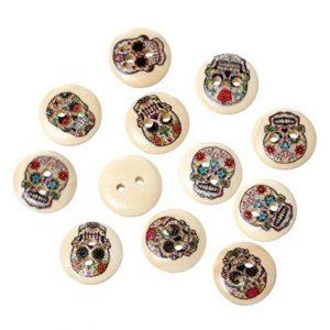 botones blancos dibujo de calaveras