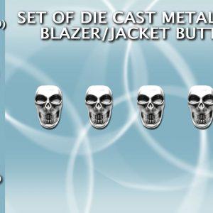 botones de calavera plateados