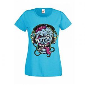 camiseta azul con calavera zombi