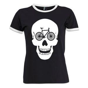 camiseta de mujer calavera y bici