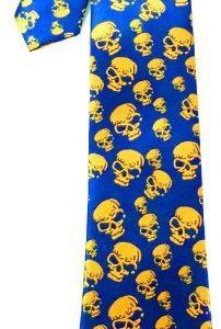 corbata azul calaveras amarillas