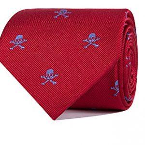 corbata jacquard roja con calaveras