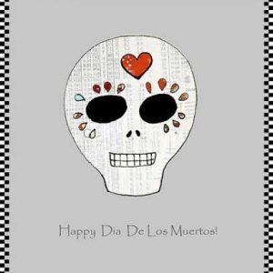 cuadro de calavera happy dia de los muertos