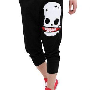 pantalones de deporte con calavera y cordon ajustable