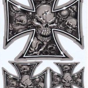 pegatina de calaveras en cruz