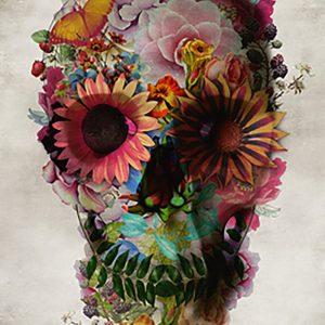 poster de calavera floral