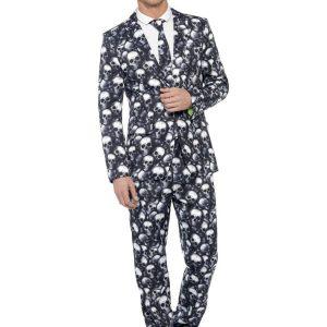 traje de hombre blanco y negro de calaveras