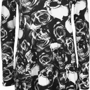 vestido de manga larga con estampado de calaveras